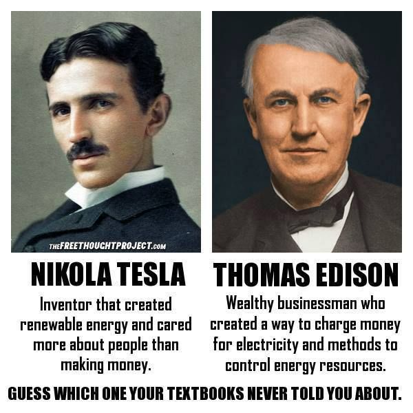 NIKOLA TESLA  VS   THOMAS EDISON........PARTAGE OF MINT PRESS NEWS........ON FACEBOOK........