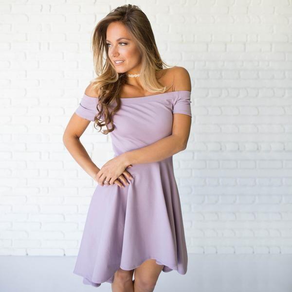 Swept Away Off Shoulder Dress In Lilac
