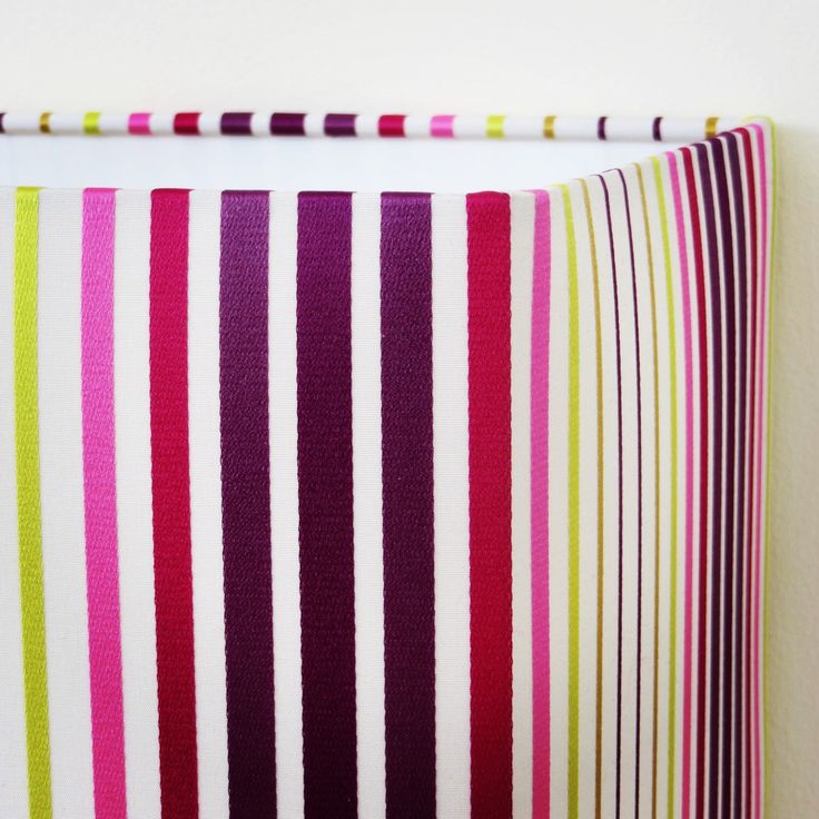 Excited to share the latest addition to my #etsy shop: SALE Rectangular 40cm Lampshade with purple pink and lime stripes, hallway, living area, narrow space