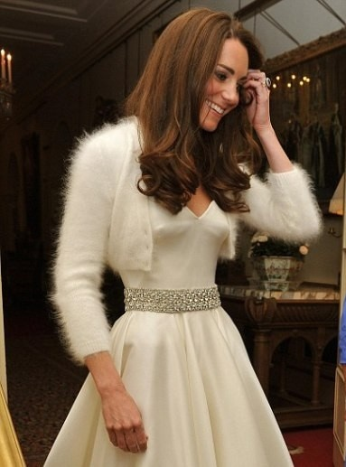 Kate Middleton Angora Cardigan And A Second Dress Designed By Sarah Burton For Alexander Mcqueen