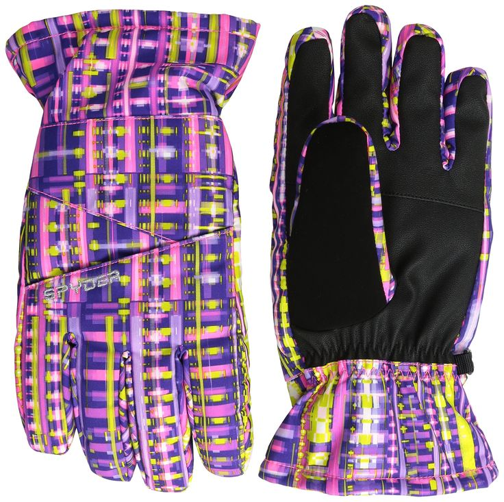 Spyder Girls Astrid Ski Gloves, Small, Harmony Acid Print. Updated with Velcro heater pack pocket. Spyder XT.L waterproof insert. Over the cuff gauntlet. Pre-curved articulated fit. Soft chamude nose wipe on thumb.
