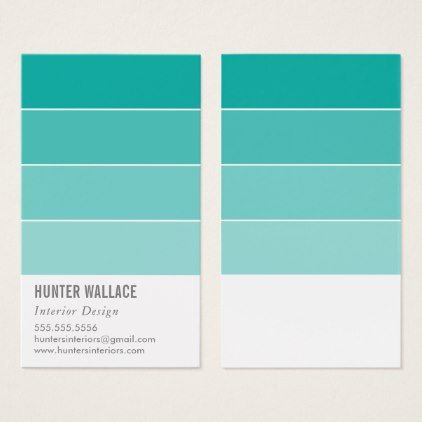 PAINT SWATCH CHIP modern decor ombre jade green Business Card - modern gifts cyo gift ideas personalize