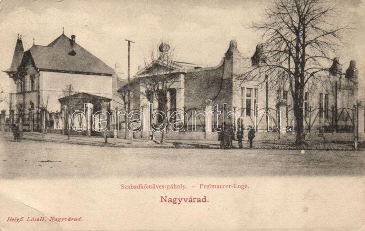 A nagyváradi László király páholy székháza képeslapon / The masonic lodge house in Nagyvárad on picture postcard.
