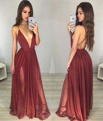 c1aed39e6b Sexy Maroon Prom Dress - Deep V-neck Long Ruched Backless