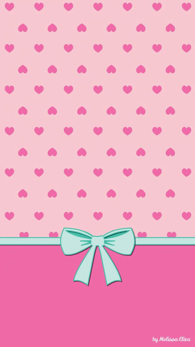 Pink Hearts Blue Bow Wallpaper.