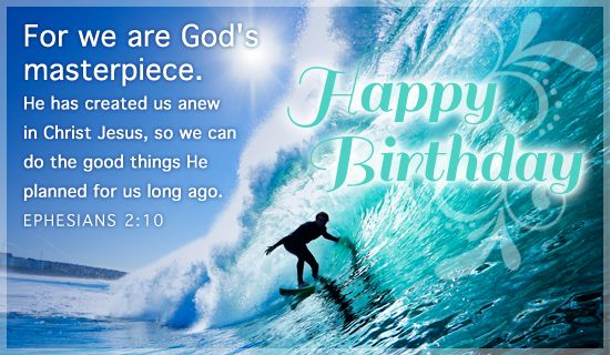 For we are Gods masterpiece He has created us anew in Christ – Free Religious Birthday Cards
