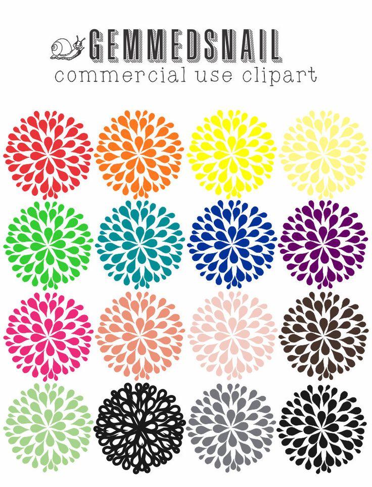 Flower clip art, Dahlia clip art 16 different colored dahlia flowers as transparent images, flower clipart