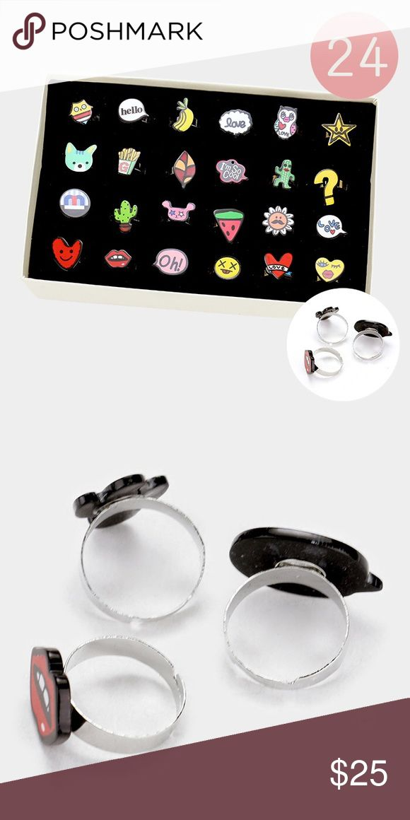 """24 PC Emoji Ring Set • PRICE FIRM!  • Theme : Animal, Fruits/Food, Heart, Star  • Size : 0.5"""" H - 1"""" H • Adjustable • 24 PCS - Emoji & message bubble rings Jewelry Rings"""