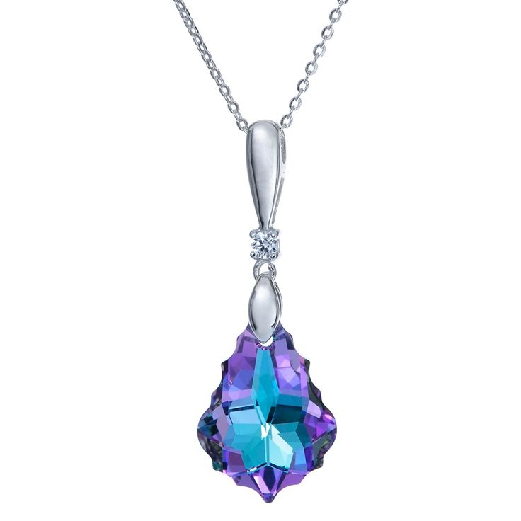 Queenberry Rhodium on Sterling Swarovski Element Baroque Vitrail Light Purple Pendant