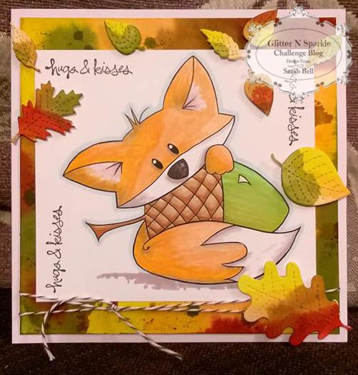 Glitter 'N' Sparkle Fall / Autumn Challenge DT Card by Sarah Bell using Sami Stamps Digi Stamp