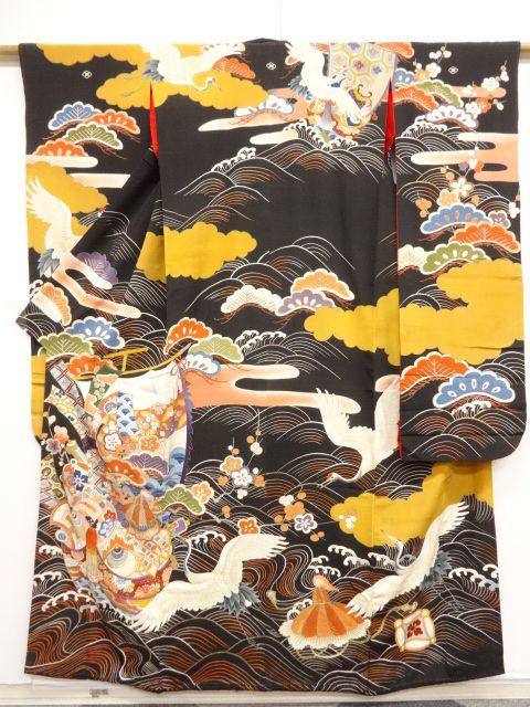 大正ロマン 錦紗宝船に鶴・松・梅模様刺繍五つ紋花嫁衣装振袖・丸帯set