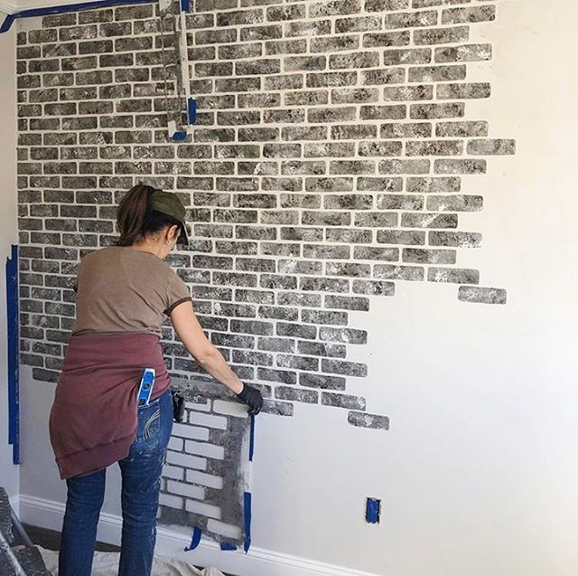 Tile Stencils Make Floor Makeovers Easy And Affordable Painted Brick Walls Brick Wall Stencil Faux Brick Walls