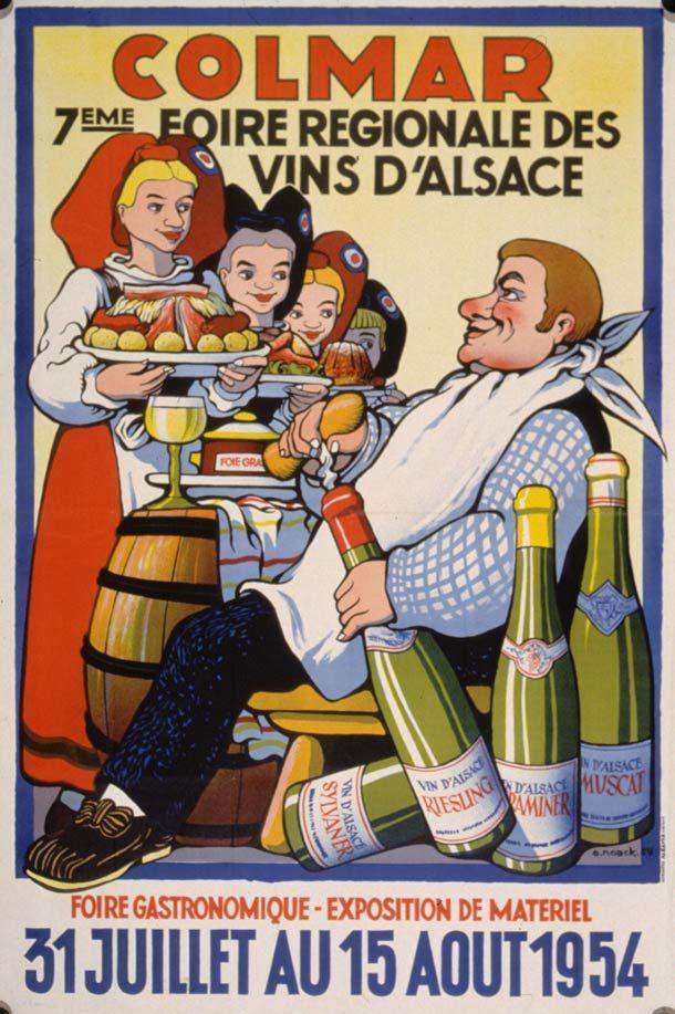 foire aux vins de colmar 1954 affiches alsaciennes pinterest alsace affiche vintage et colmar. Black Bedroom Furniture Sets. Home Design Ideas