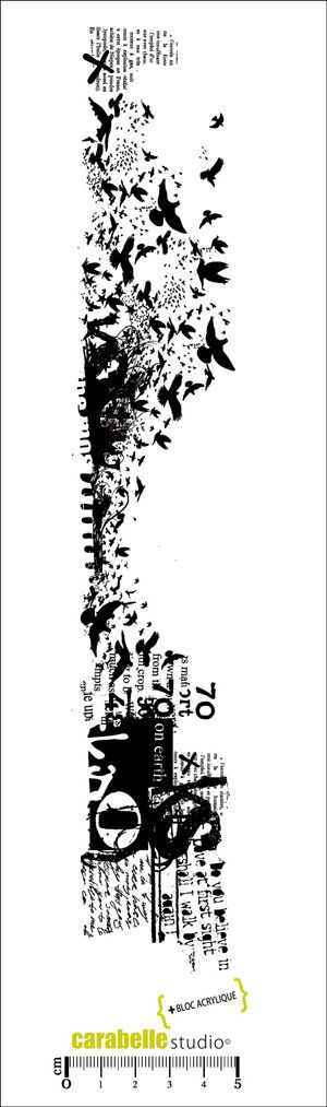 Tampon Edge : Collage, envolée d'oiseaux Carabelle Studio, Tampons EDGE : Fond - Art Stamp