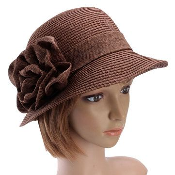 Women Ladies Summer Straw Hat Beauty Ruffle Flower Side Flip Bucket Cloche Beach Cap at Banggood