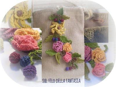 Sul filo della fantasia: Una piccola borsa in tela di iuta, con fiori e foglie all'uncinetto