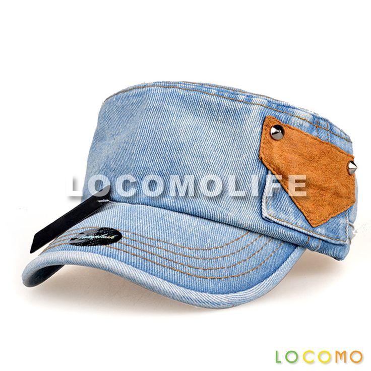 Blue Washed Jeans Denim Fake Pocket Army Flat Cap White Blue