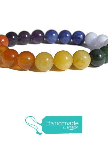 "ZENstore Chakras Healing Bracelet Natural Gemstones size 0.3"" 8mm Seven 7 Chakras Red Jasper Carnelian Yellow Jade Green Jade Chalcedony Lapis Lazuli Amethyst Balance Harmony from ZENstore https://www.amazon.com/dp/B072M7K23C/ref=hnd_sw_r_pi_dp_VfrozbRGNW2CC #handmadeatamazon  #Zenstore #chakra #gemstone #jewellery #fashion"