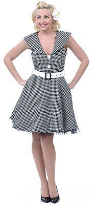 Black & White Collared Swing Dress