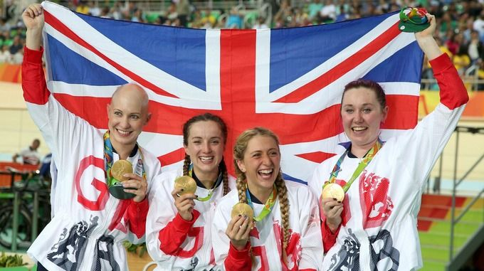 Team GB athletes pose with their new medals