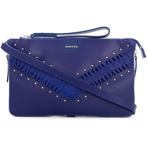 Diesel Le-Littsyy clutch ($279) ❤ liked on Polyvore featuring bags, handbags, clutches, blue, cobalt blue handbags, studded purse, leather purses, studded leather handbags and blue leather handbags