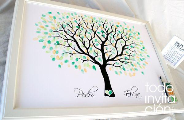 Cuadro de firmas con huellas para invitados de boda  http://www.todoinvitacion.com/products-page/cuadros-de-firmas-con-huellas/cuadro-de-firmas-arbol-6/#