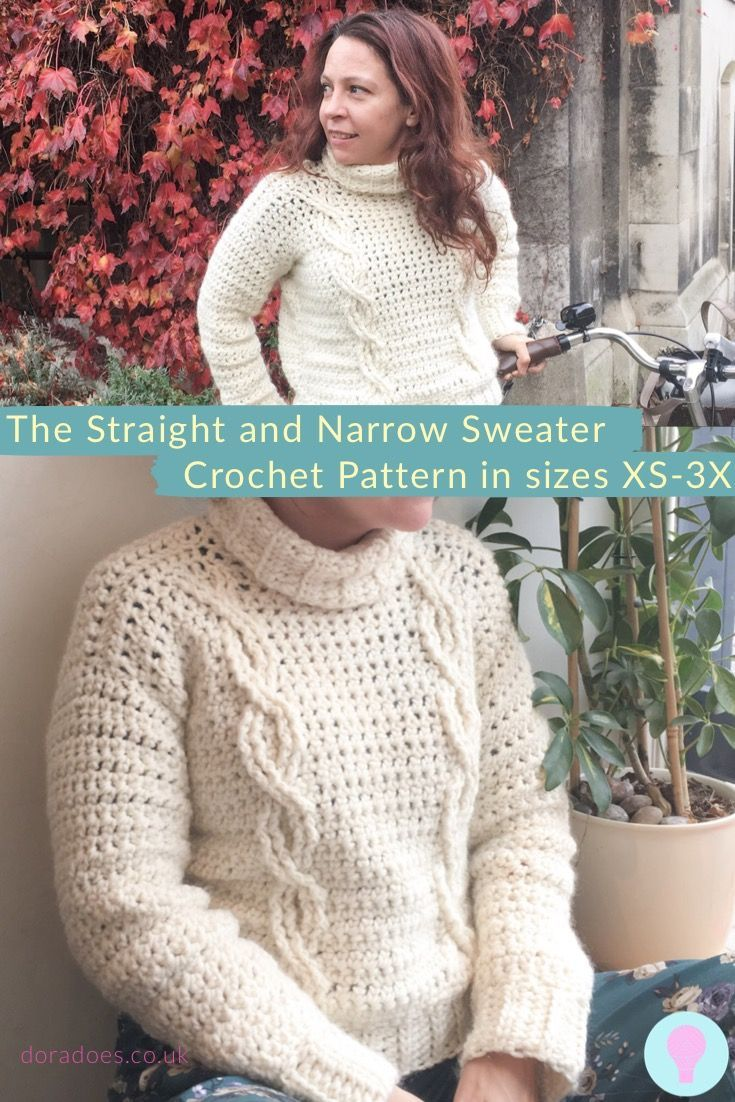 The Straight And Narrow Cable Sweater Dora Does Crochet Jumper Easy Crochet Patterns Crochet