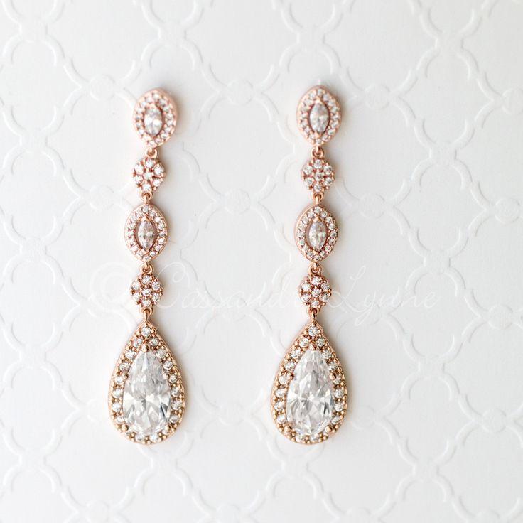 CZ Wedding Earrings in Rose Gold Silver Gold from Cassandra Lynne