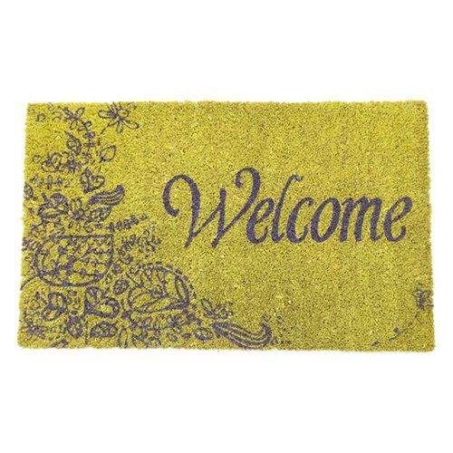 Purple Welcome Nonslip Coir Door Mat - P971