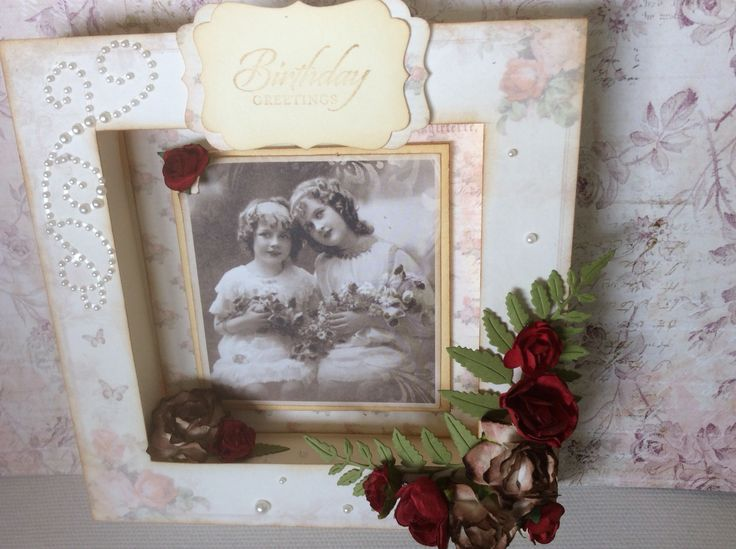 Shadow box using Pion papers and vintage photos