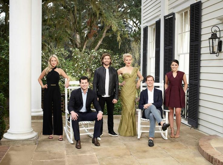 The cast of Southern Charm: Savannah. Pictured: (l-r) Catherine Lanier Cooper, Louis Oswald, Daniel Eichholz, Ashley Borders, Lyle Mackenzie, Hannah Pearson