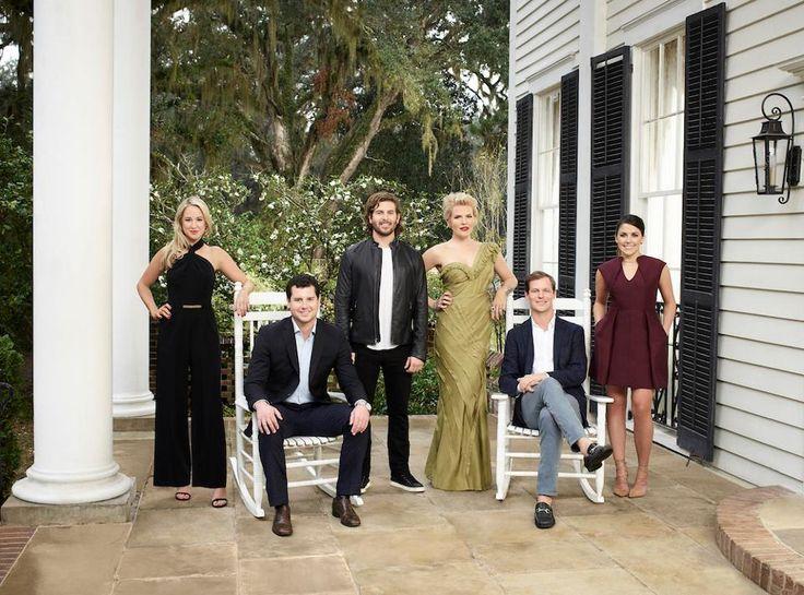 The cast of Southern Charm: Savannah. Pictured: (l-r) Catherine Lanier Cooper, Louis Oswald, Daniel Eichholz, Ashley Borders, Lyle Mackenzie, Hannah Pearson