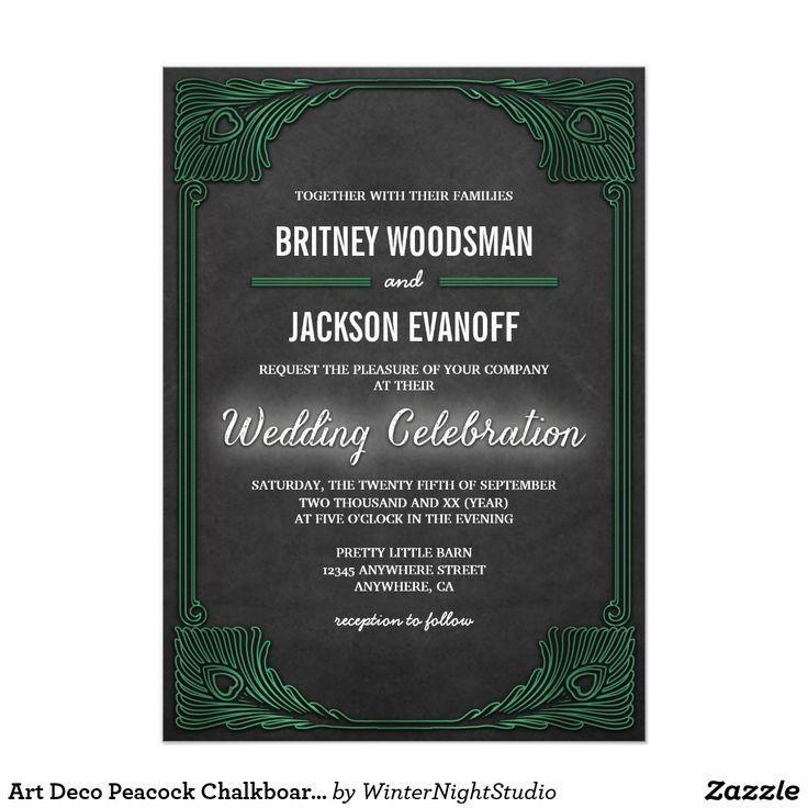 bed bath and beyond wedding invitation kits%0A Art Deco Peacock Chalkboard Wedding Invitations