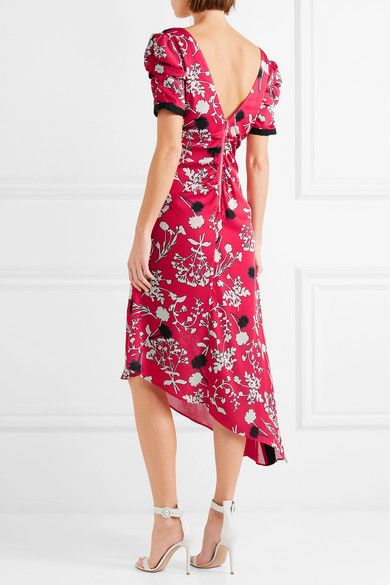 012500b21004 GABRIELLE'S AMAZING FANTASY CLOSET | Self-Portrait's Twist-Front Midi-Dress  in Fluid Crepe de Chine, with a Black & White Floral Print on a Ruby-Red  Ground.