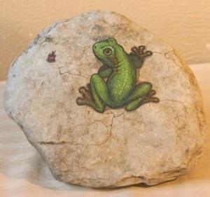 Frog with Ladybug Hand Painted Rock   eBay