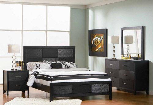 4pc Queen Size Bedroom Set with Wood Grain in Black Finish - Listing price: $1,317.00 Now: $705.05
