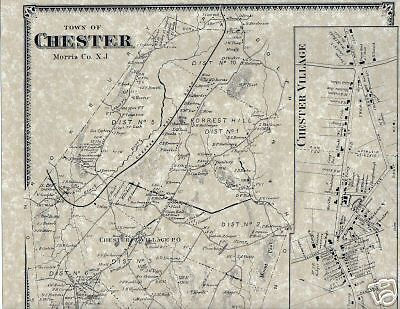 Chester New Jersey Map.Chester Nj 1868 Map With Homeowners Named Ebay Chester Nj
