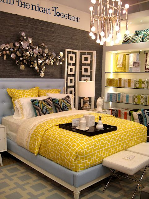 I really love the combo of bright colors and prints here for Pretty bedroom colors