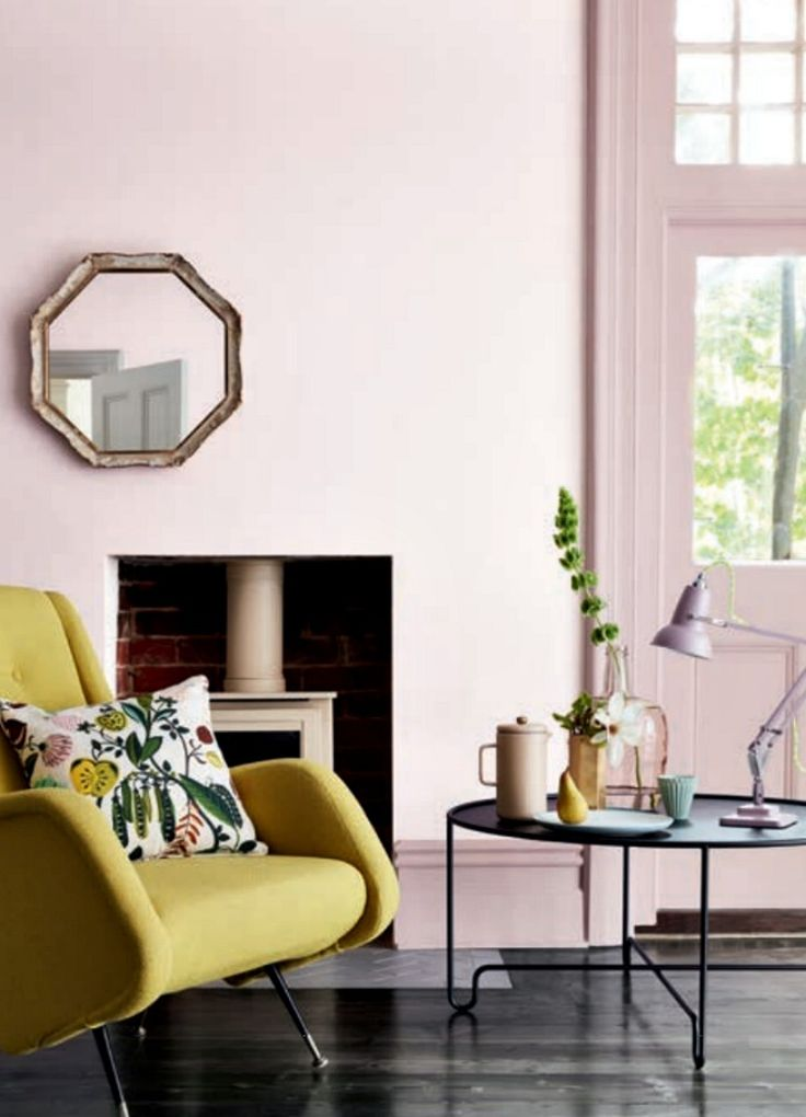 Dorchester pink mid from The Little Greene paint company looks divine with lime yellow armchair