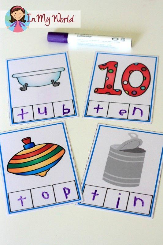 Preschool Letter T FREE CVC Phoneme Segmentation Cards Finished