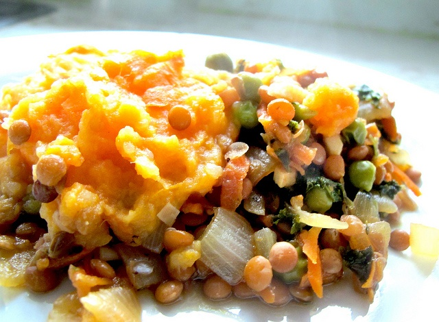 ... shepherd's pie - sweet potatoes, lentils, peas, & mushroom