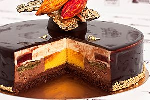 World Chocolate Masters 2013 - Treasures of Indian land THE RECIPE! (layers from down: choc.sponge soaked in punch, raspberry ganache, crispy layer, chocolate mousse, passion fruit-mango mousse, dacquoise, vanilla white choc. mousse, raspberry gel, shiny glaze.) Pinner´s note: for the crispy layer I use: rice krispies, melted chocolate and nutella.