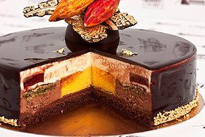 World Chocolate Masters 2013 - Treasures of Indian land THE RECIPE! (from down: choc.sponge soaked in punch, raspberry ganache, crispy layer, chocolate mousse, passion fruit-mango mousse, dacquoise, vanilla white choc. mousse, raspberry gel, shiny glaze.