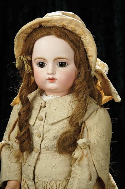 Soirée: A Marquis Cataloged Auction of Antique Dolls and Automata - May 14, 2016: Lot 155. Grand French Bisque Bebe by Gaultier Freres with Beautiful Antique Costume