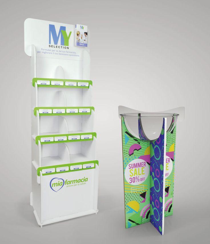 Espositori promozionali In PVC ad incastro, altamente configurabili con vari accessori (bowl in plexiglass, tasche portadepliant, crowner personalizzabile sagomato)
