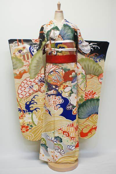黒振袖 豪華 中影木瓜の紋 手刺繍 日本刺繍 鼓 菊 御所車 橘 松