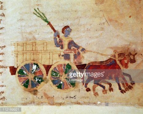 Fine art : A Peasant Wagon. Miniature from De Universo (De Rerum Naturis), by Rabanus Maurus Magnentius a.k.a Rabanus Maurus (c.780_856). 9th century. Archives of the Abbey of Montecassino, Montecassino, Italy