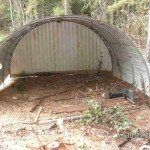 Turn an old trampoline into a shed