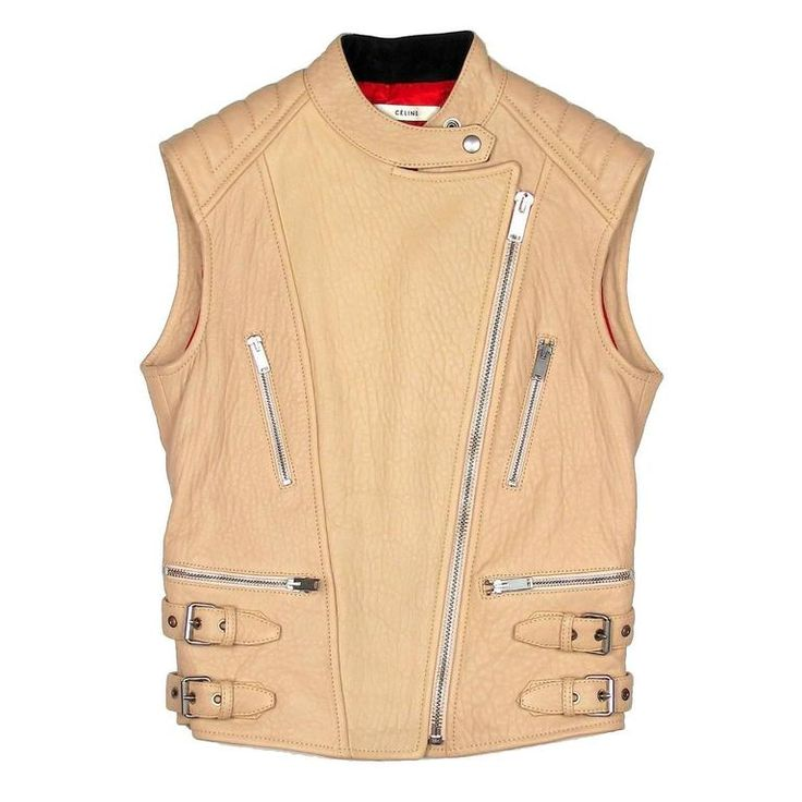 Celine Leather Jacket - US 4 6 38 - Tan Biker Motorcycle Leather Vest Coat Moto | From a collection of rare vintage jackets at https://www.1stdibs.com/fashion/clothing/jackets/