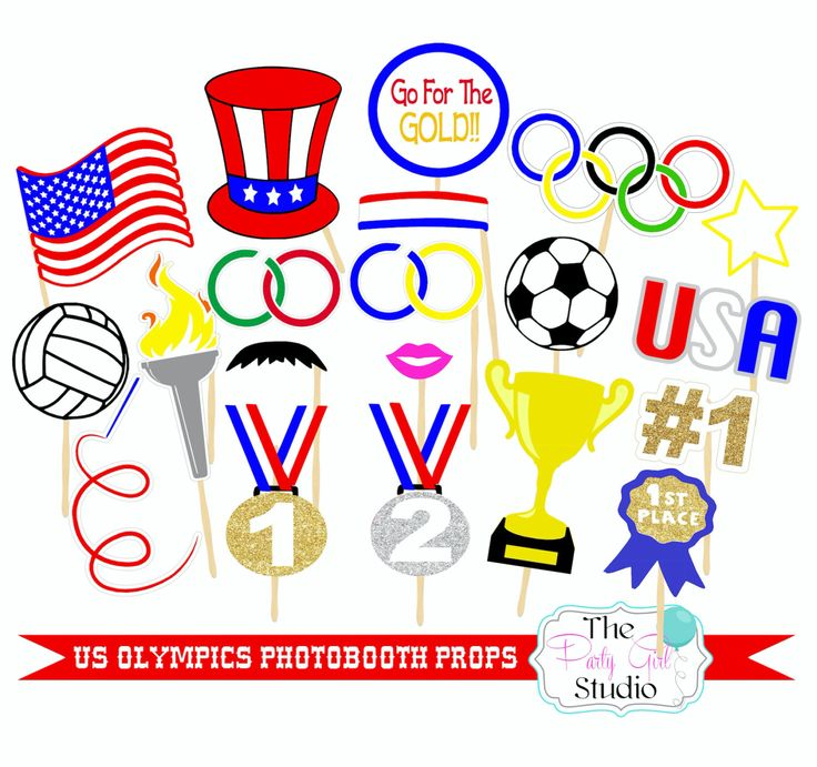 20pc US Olympic Photo Booth Props/Olympics/Sports Photobooth Props - DIGITL FILE